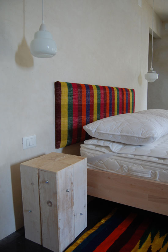 Headboard (see below), lights, side table (made by Tone and me from remaining ceiling beams)