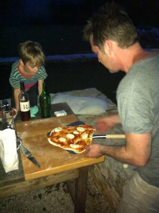 First pizza into the pizza oven