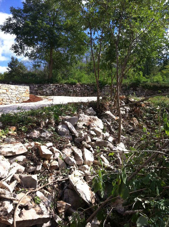 Rubble where wall should be