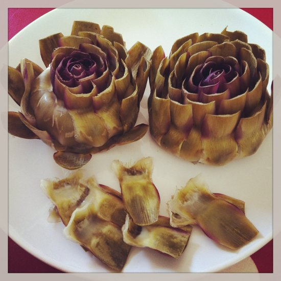 Artichokes – found at local market – nice but too much work for too little pleasure I found