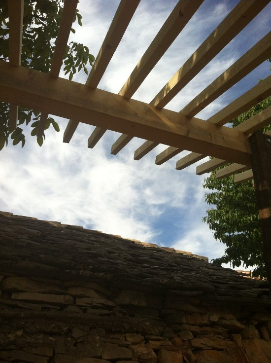 Pergola before the roof with sky